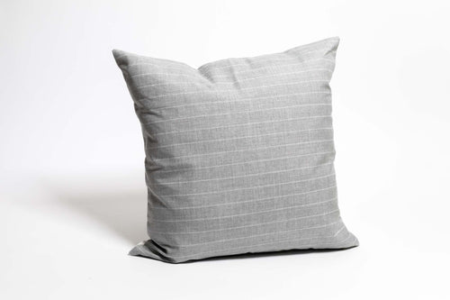 Hollis Outdoor Pillow - Grey + White Stripe - 20