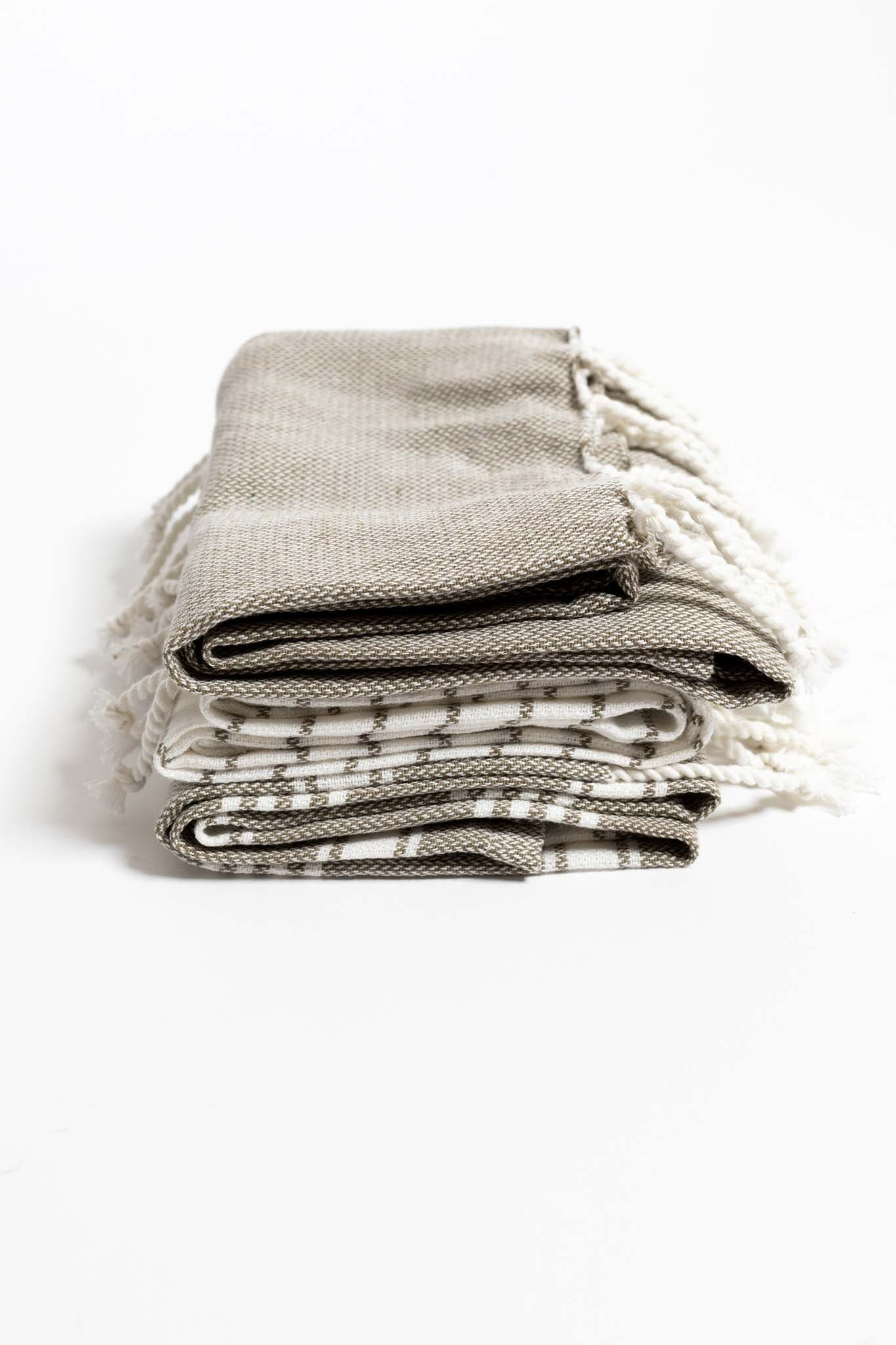 Koba Woven Cotton Striped Tea Towel w Tassels - Grey + White