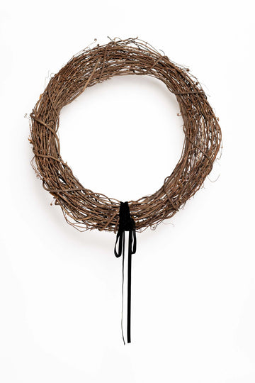 Deck The Halls Grapevine Wreath with Black Velvet Ribbon