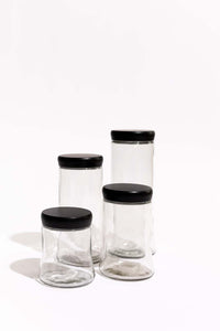 Emerge Tapered Glass Canister w Black Lid - Medium