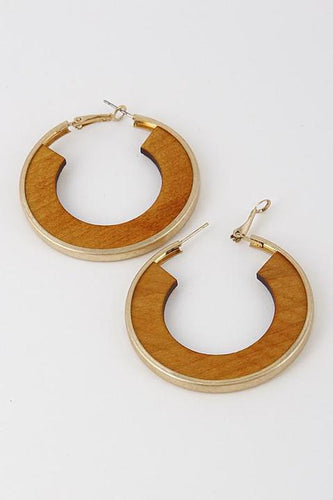 Latchback Gold Wood Hoop Earrings - Camel