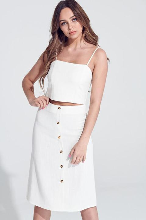 Citrine Crop Top + Midi Button Detail Skirt Set