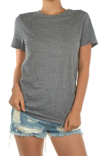 Hole Detail Vintage Short Sleeve Tee -  Charcoal