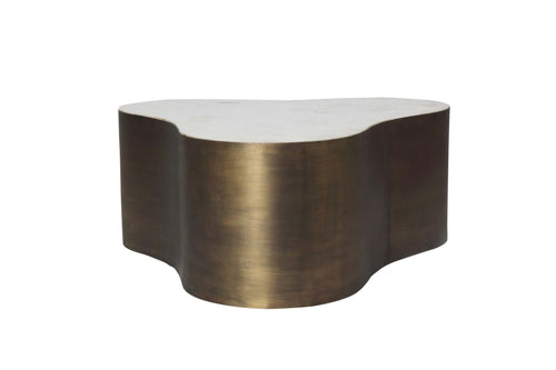 Lead The Way Irregular Shaped Marble + Metal Coffee Table
