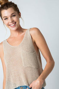 Shell Light Knit Sleeveless Cropped Tank Top w Pocket - Oatmeal
