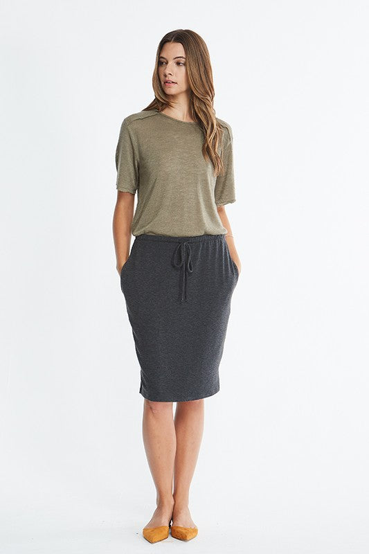 Easy like Sunday Morning Skirt Midi Length - Black