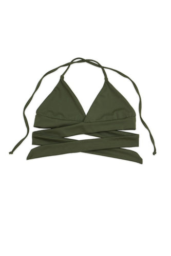 Siesta Swim Wrap Around Triangle Top Ties at Neck - Olive