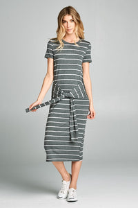 Clove Stripe Mid Length Dress with Tie Front