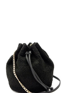Faux-Fur Drawstring Bucket Shoulder Bag - Black