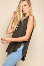 Robin Pin Stripe Sleeveless Pleated Back High & Low Knit Tank - Black