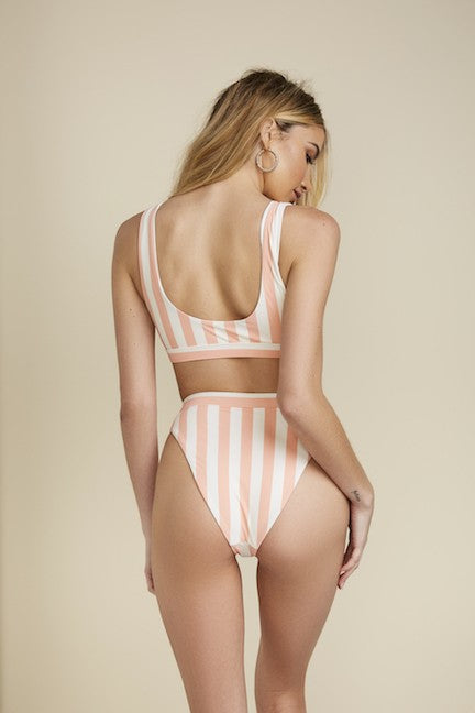 Praia Swim Bottom - High-Waist + High-Leg Cut + Minimal Cheeky Coverage - Coral + White Stripes