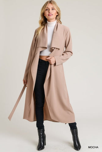 Belted Open Front Trench Coat - Mocha