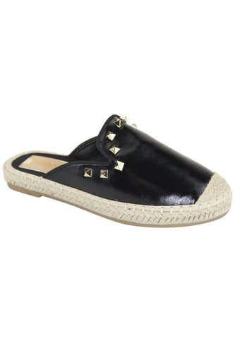 Katie Black Slip-On with Gold Metallic Studs & Rope Sole