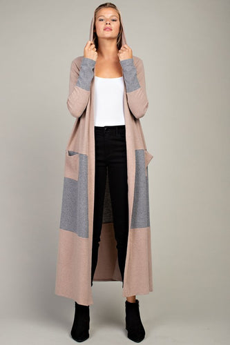Soft Nude Maxi Hoodie Cardigan Duster