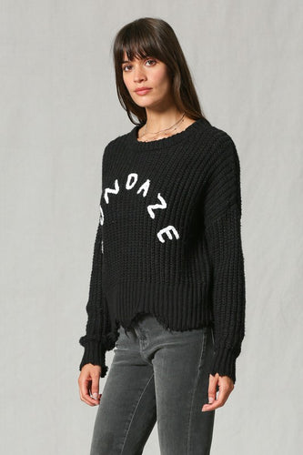 Sundaze Cotton Knit Long Sleeve Raw Distressed Sweater