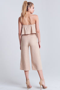 Desert Nude Strapless Flowy Top + High Waisted Cropped Leg Pants Set