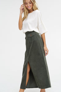 Walsh Corduroy Maxi Skirt with Front Slit - Olive