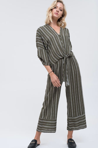 Tallulah Striped Front Tie and Long Pants Set