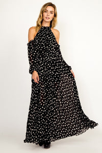 Date Night Flowy Polka Dot Open Shoulder Maxi Dress - Black + White