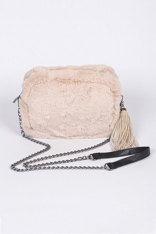 Mushroom Faux Fur Clutch With Tassel