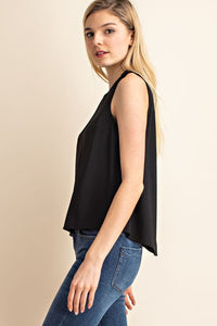 Marina Sleeveless Two Button Shoulder Top -  Black