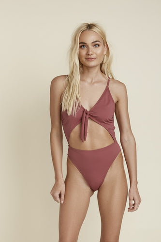 Bavaro Swim Front Tie One-Piece - Mauve