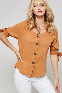 Auden Tied Sleeve Button Down Blouse