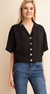 Amethyst Button Up Collared Short Sleeve Top - Black