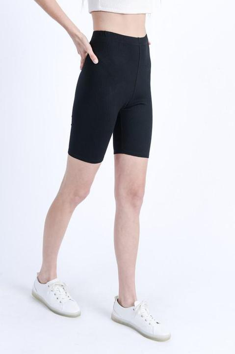 Amber High Waist Form Fitting Crinkled Biker Shorts