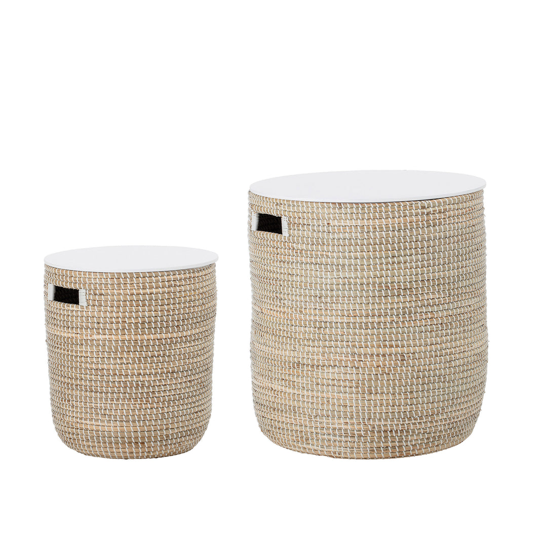 Whirlwind Seagrass Tables with Storage + Wood Tops - Set of 2 Sizes