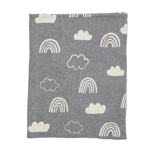 Sweet Dreams Reversible Cotton Knit Rainbow + Clouds Baby Blanket - Grey + White