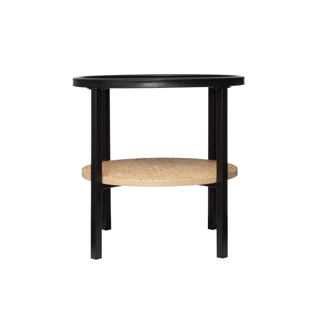 Freefall Round Metal Accent Table with Tray-Style Top + Bamboo Shelf