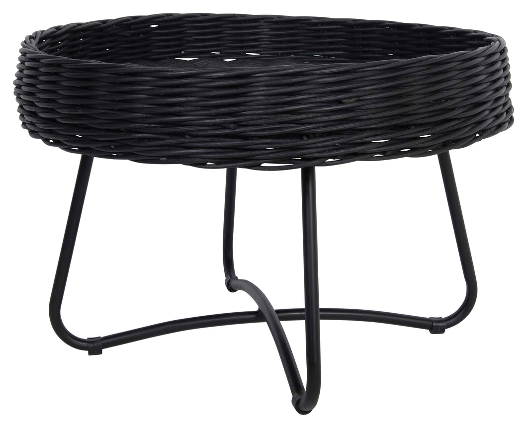 Brody Handwoven Rattan Accent Table with Metal Legs