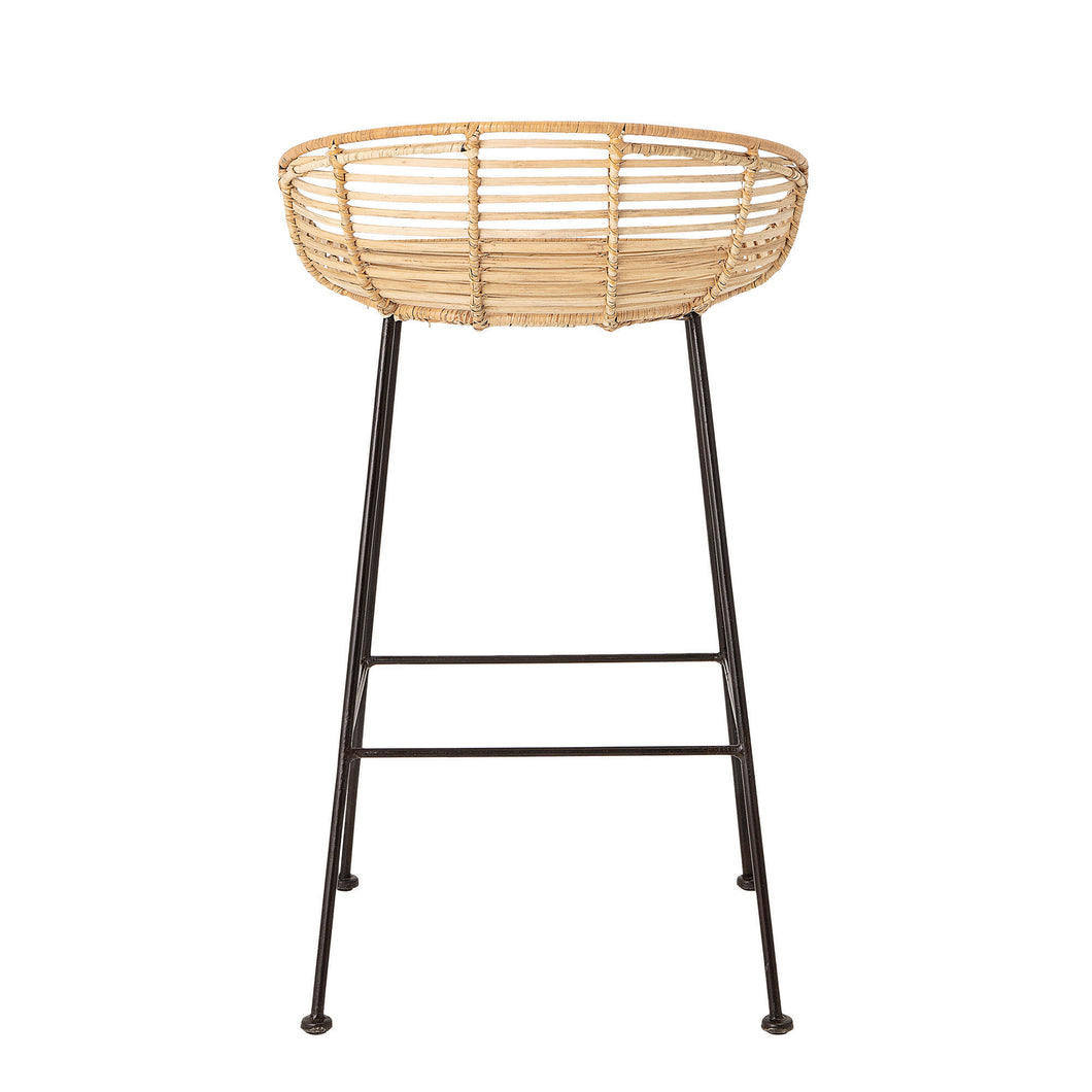 Hanson Woven Rattan Bar Stool with Black Wrought Iron Legs