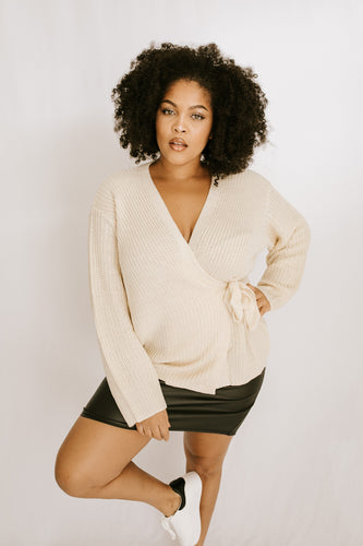 Meg Knit Wrap Top - Ivory