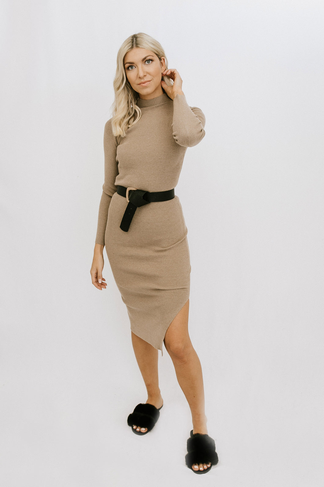 Charla Midi Dress - Taupe