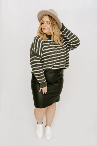 Brielle Striped Sweater - Charcoal + Ivory