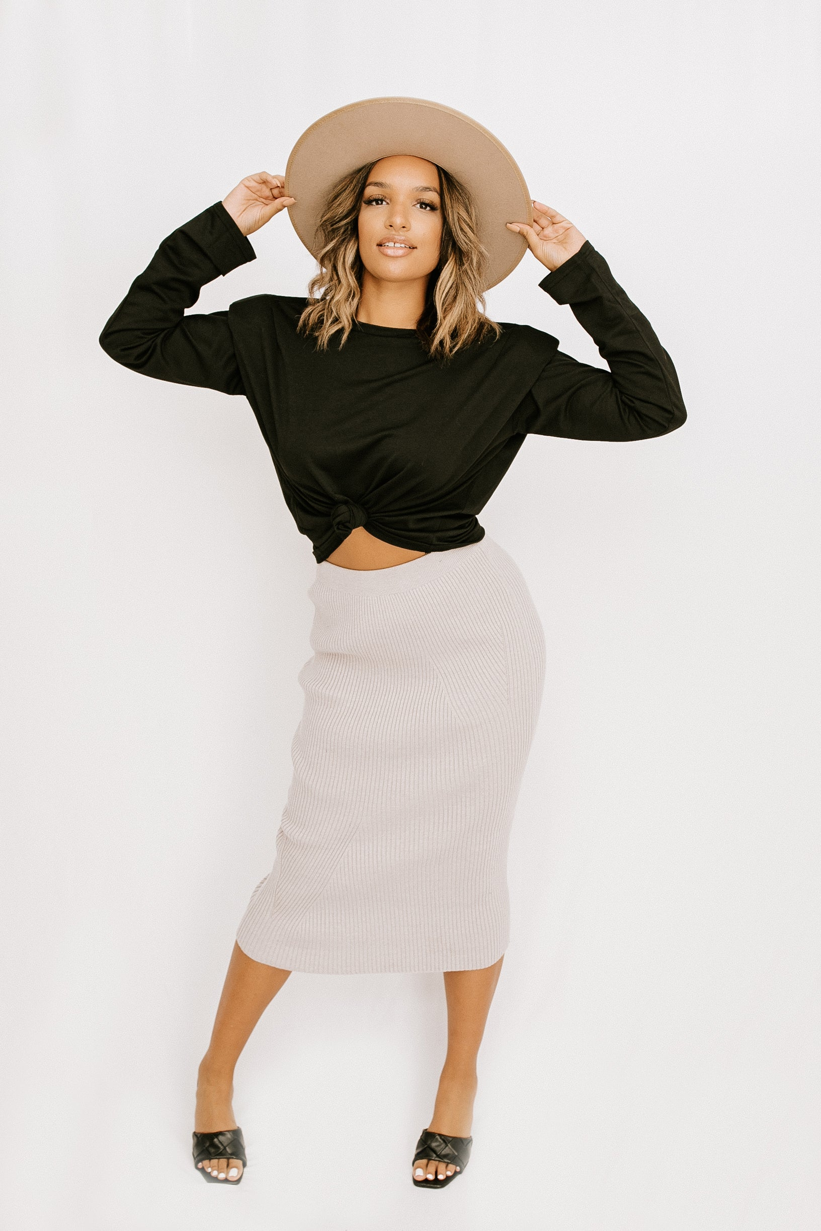Off Duty Midi Skirt - Grey