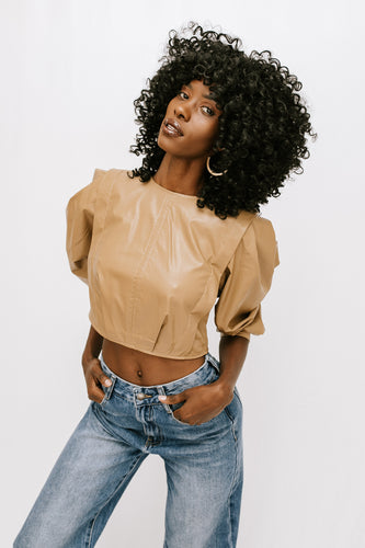 Evangelina Puff Sleeve Crop Top - Khaki