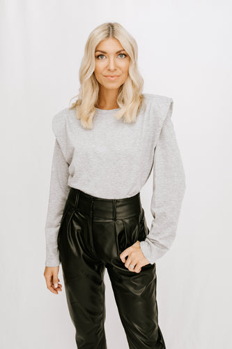 Juliet Padded Shoulder Sweater - Grey