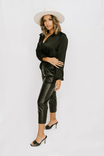 Eve Satin Blouse - Black