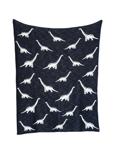 RAWR Cotton Knit Dinosaur Blanket - Navy