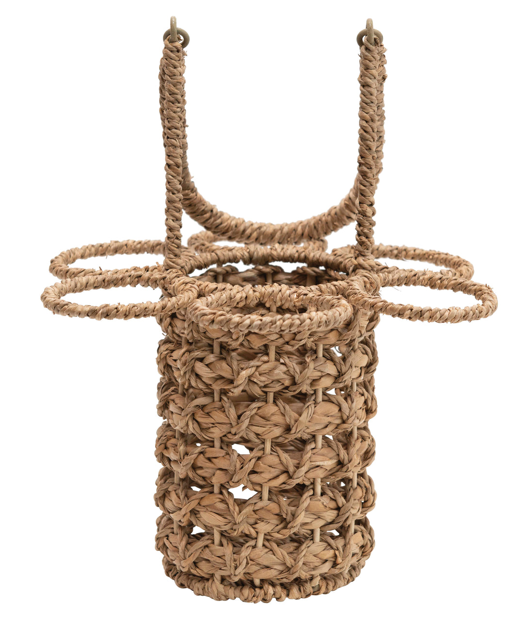 Care Free Woven Seagrass Wine Bottle & Glass Holder