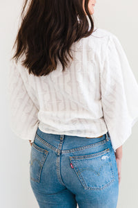 First Date Flowy Sleeve Woven Crop Tie Top