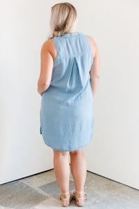 Deep Neck Shirt Dress w Side Slit Pockets - Light Chambray