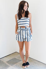 Striped Crop Top and Paper Bag Short Set