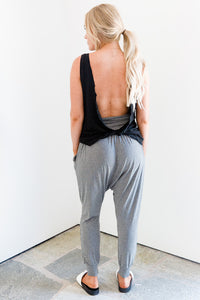 Black Relaxed Open Back Tank