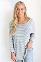 Sweetie Thin Striped Long Sleeved Deep-V Crossover Back Top