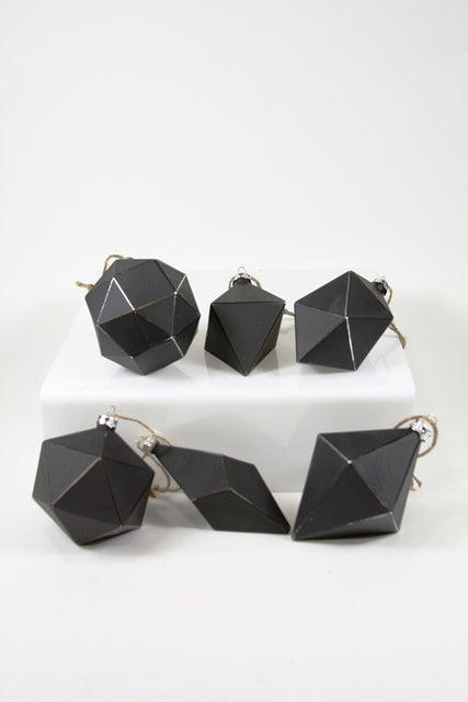 Black Boho Geometric Ornaments - 6 Styles