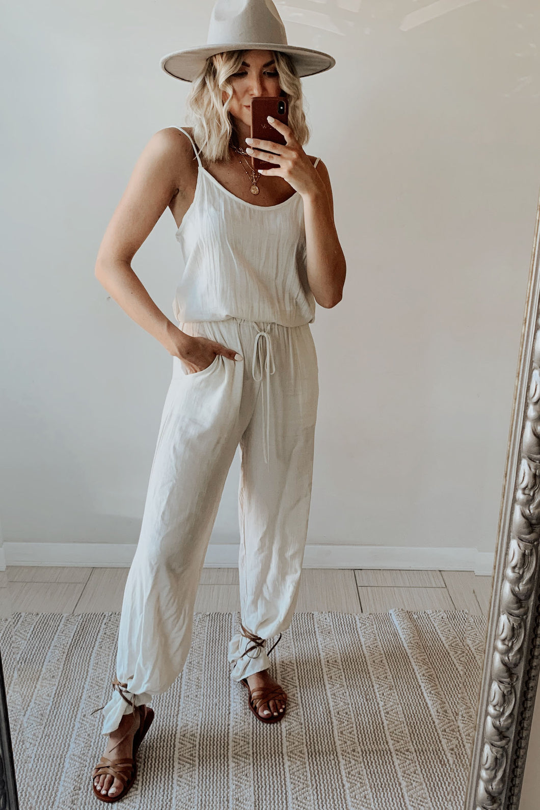 Mind Over Matter Cami Strap Linen Loose Fit Solid Jumpsuit - Oatmeal